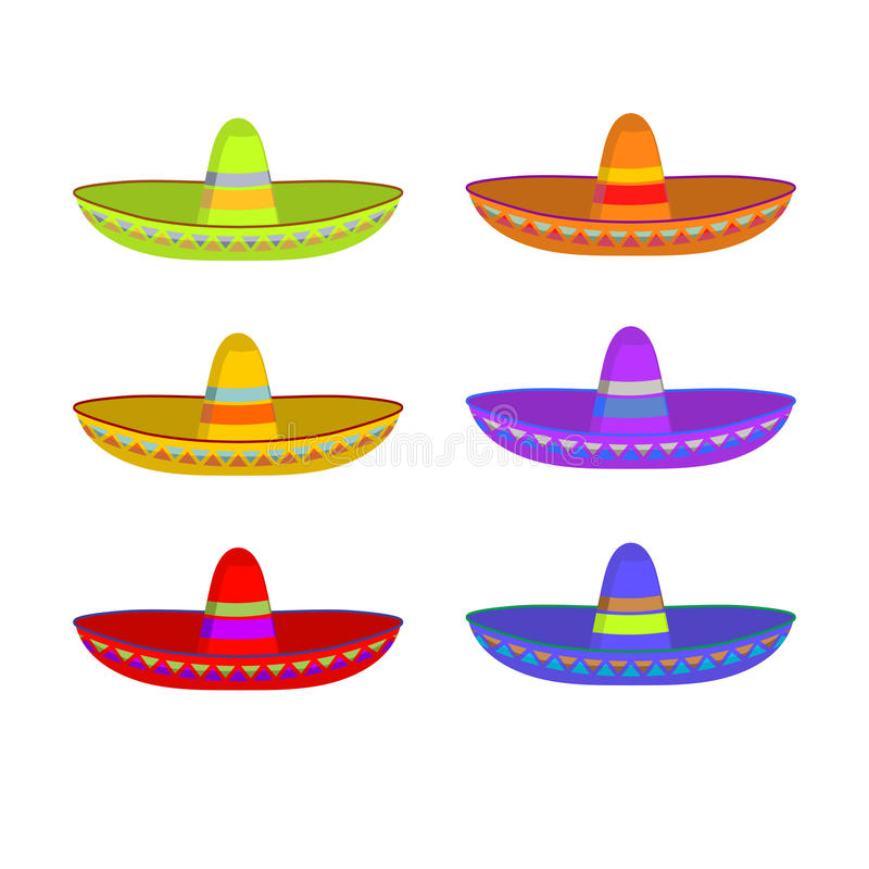 Sombrero set. Colorful Mexican hat ornament. National cap Mexico.  royalty free illustration