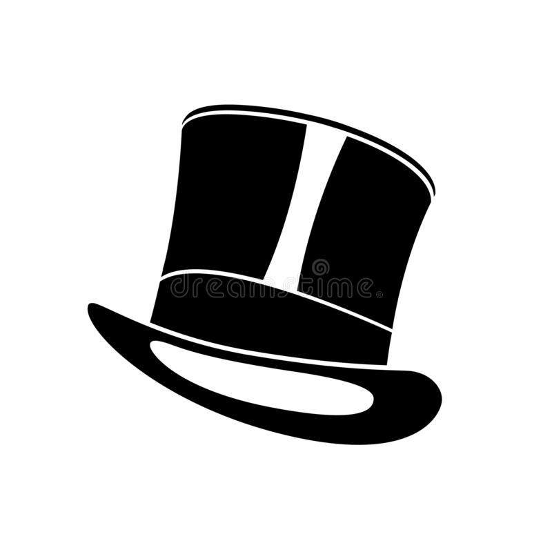 Sombrero superior negro Ejemplo del sombrero del cilindro del caballero stock de ilustración