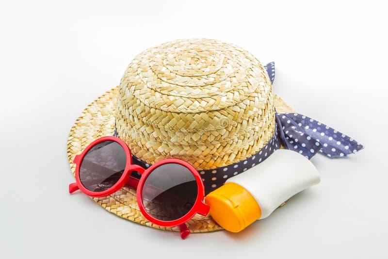 Download Sombrero Tejido, Gafas De Sol Rojas Con La Loción Del Cuerpo Imagen de archivo - Imagen de piel, reflexión: 41917775