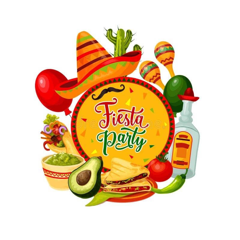 Sombrero, tequila, maracas. Mexican Cinco de Mayo. Mexican sombrero, maracas and tequila vector design of Cinco de Mayo fiesta party. Mariachi hat, moustaches royalty free illustration