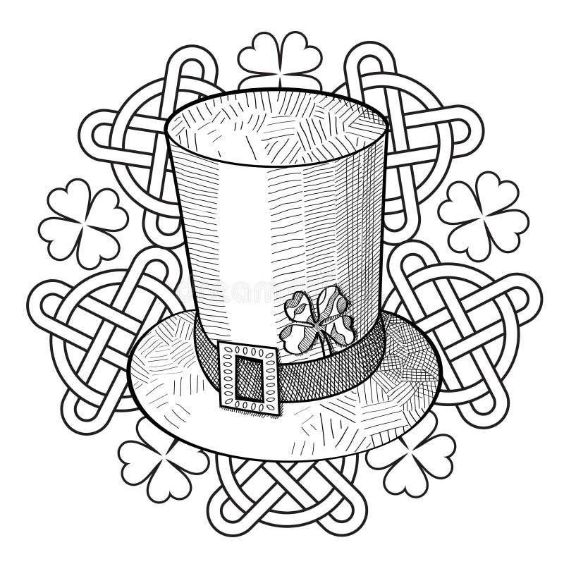 Sombrero, trébol y ornamento del día del St Patricks del gráfico con los nudos stock de ilustración