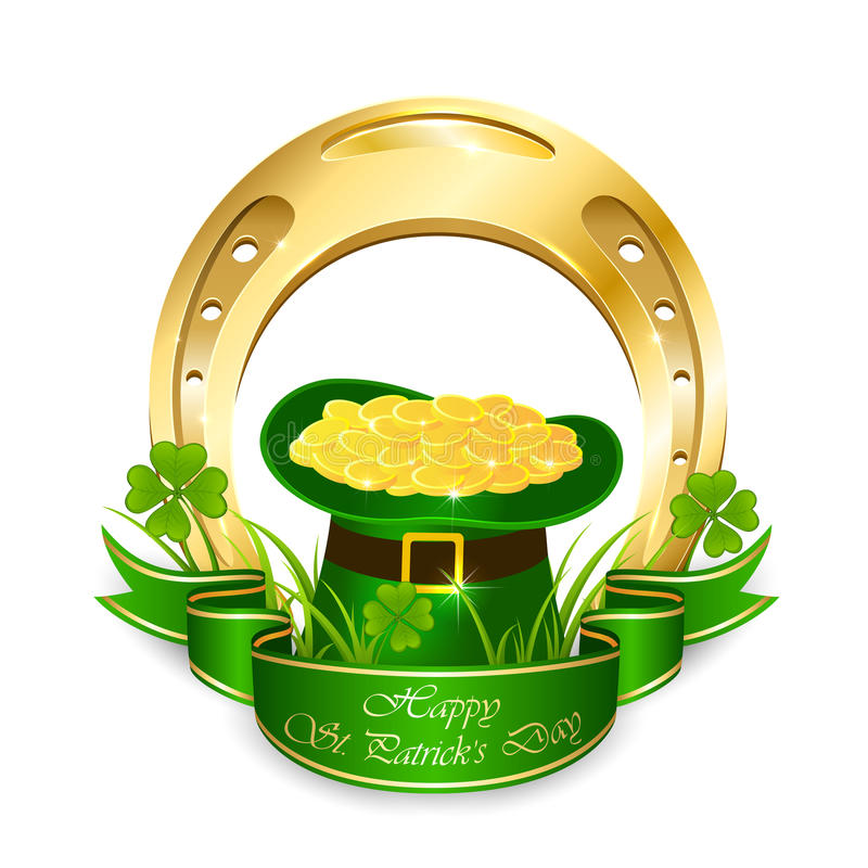 Sombrero verde del duende con las monedas y la herradura de oro libre illustration