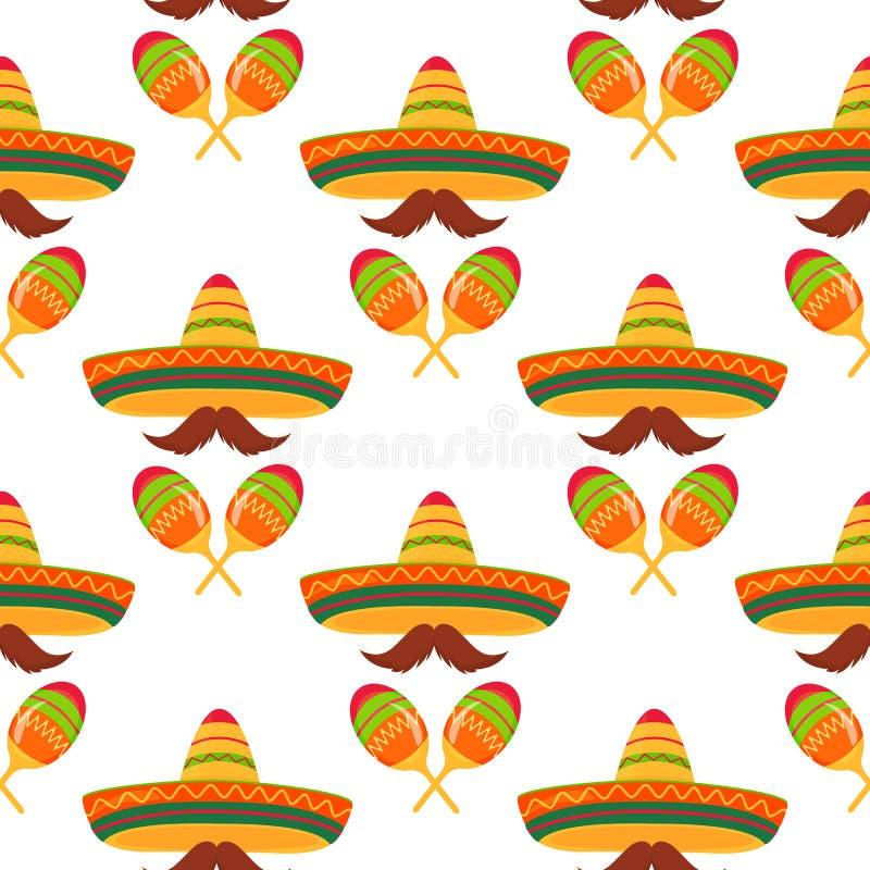 Sombrero, wąsy, marakasy bezszwowy wzoru Wystr?j dla Cinco de Mayo Mo?e u?ywa? jako tapeta, opakunkowy papier, kocowanie, ilustracji