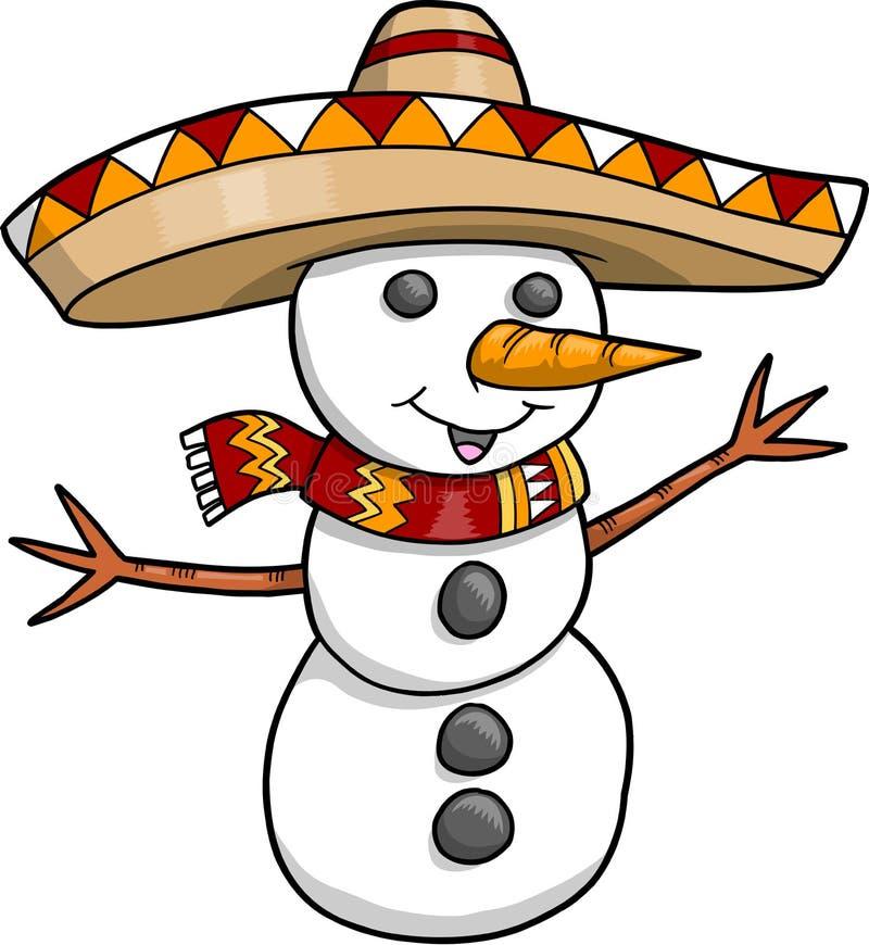 Sombrero-Weihnachtsfeiertags-Schneemann lizenzfreie abbildung