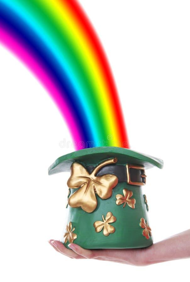 Sombrero y arco iris del Leprechaun foto de archivo