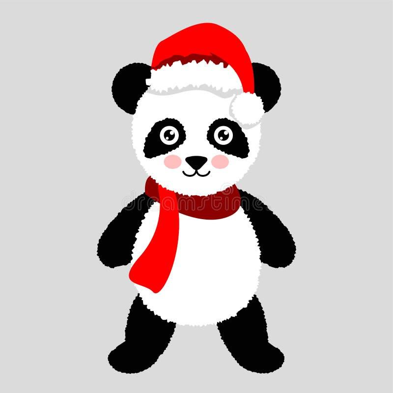 Sombrero y bufanda de Panda Christmas Vector el ejemplo para la tarjeta de felicitación, el cartel, o la impresión en la ropa La  stock de ilustración