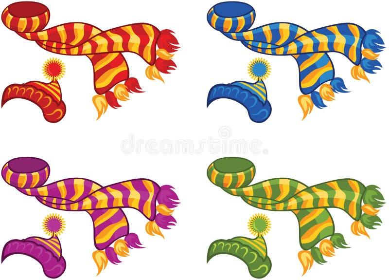 Sombrero y bufanda hechos punto ilustración del vector