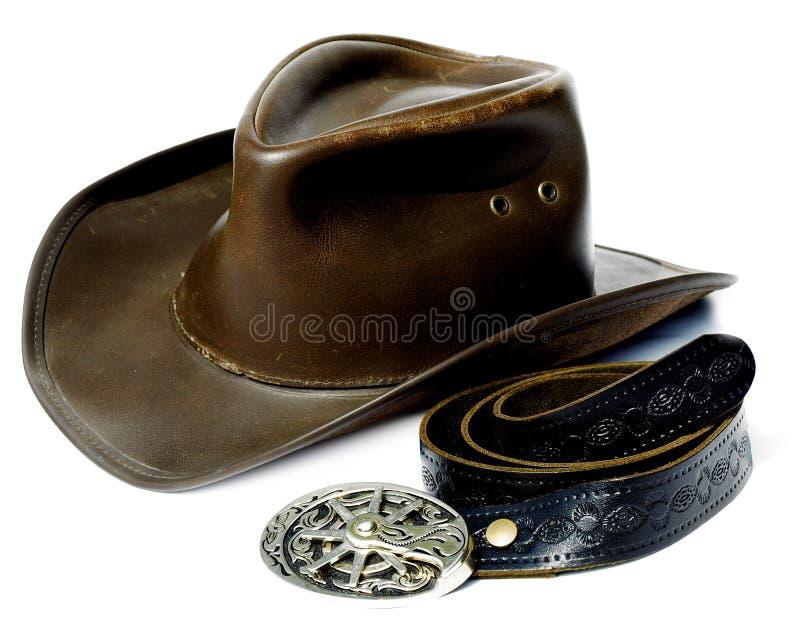 Sombrero y correa de vaquero del estilo de la vendimia fotografía de archivo libre de regalías