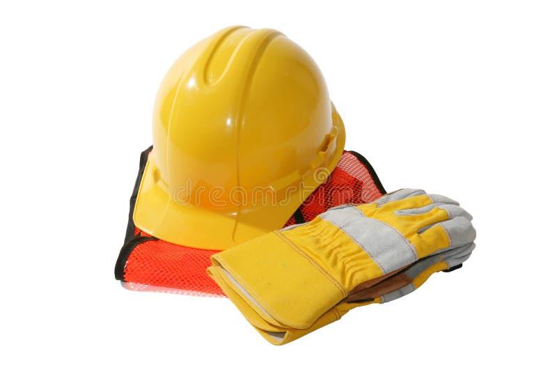 Sombrero y guantes de la construcción imagen de archivo