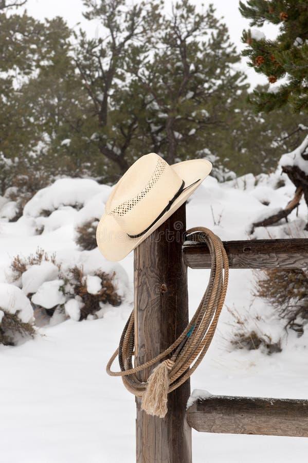 Sombrero y lazo de Wrangler imagenes de archivo