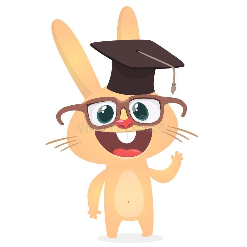 Sombrero y lentes del soltero de la graduación del conejo lindo de la historieta que llevan Ejemplo del vector de un conejito son ilustración del vector