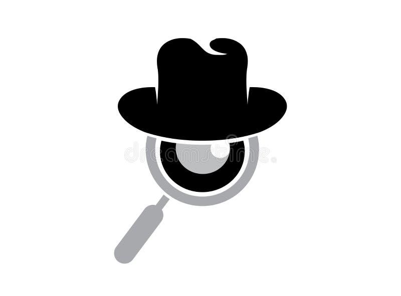 Sombrero y lupa para un diseño detective del logotipo del espía ilustración del vector