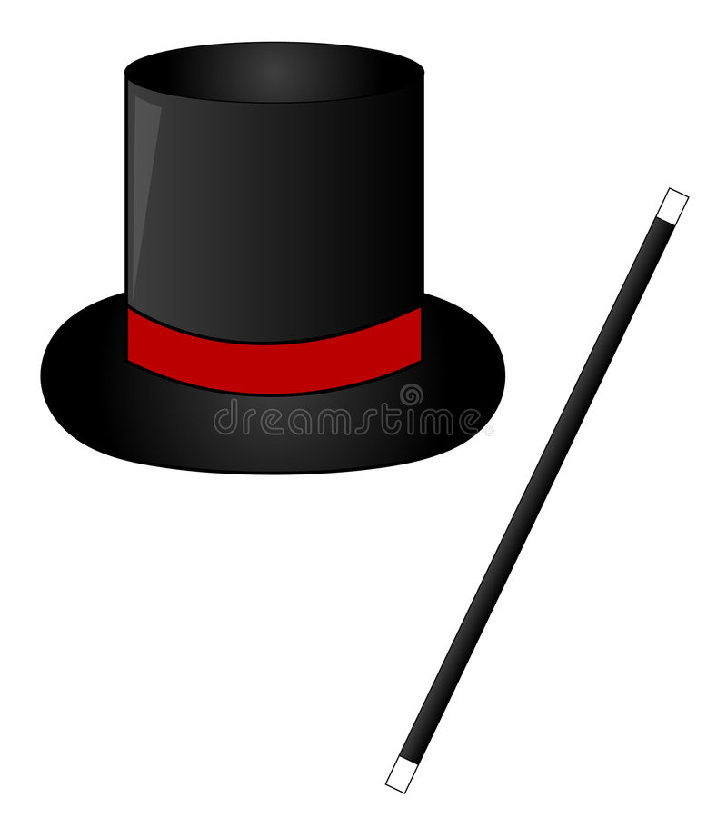 Sombrero y varita mágicos libre illustration