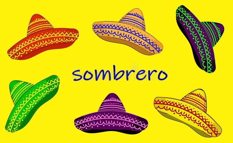 Sombrerohattuppsättning Vektordesign festliga Sombreroholiday stock illustrationer