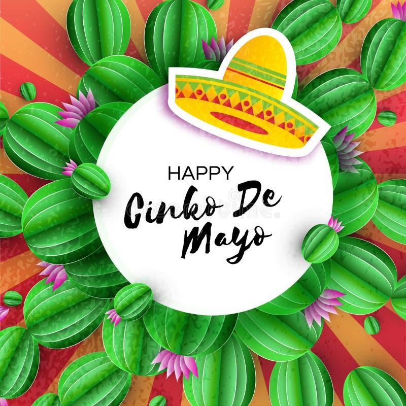 Sombrerohoed, Cactus in document besnoeiingsstijl Roze bloemen Gelukkige Cinco De Mayo-groetkaart Mexico, Carnaval Circekader vector illustratie