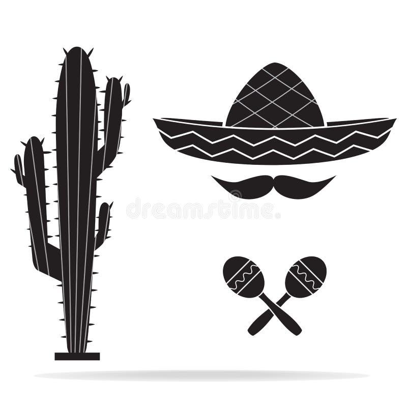 Sombrerokaktus, maracas und Hutikone, mexikanische Art lizenzfreie abbildung