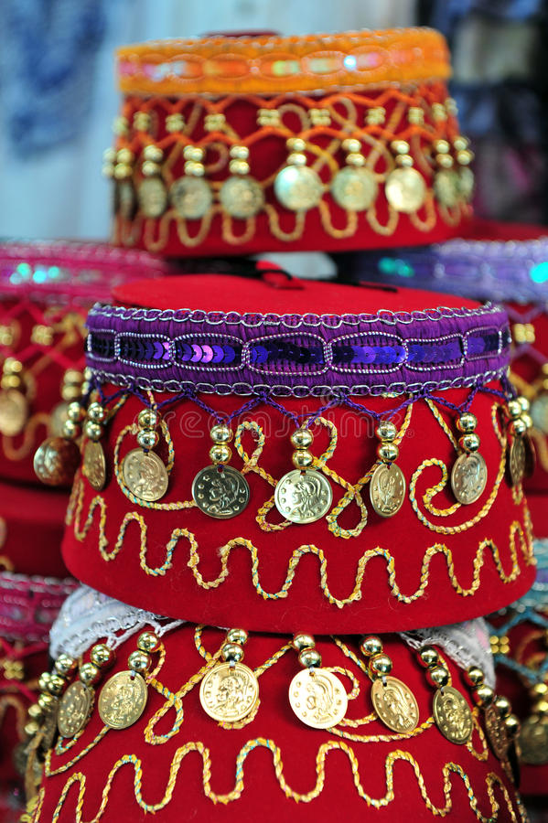 Sombreros árabes adornados imagen de archivo libre de regalías