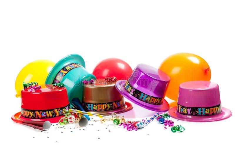 Sombreros de la Feliz Año Nuevo en blanco fotografía de archivo libre de regalías