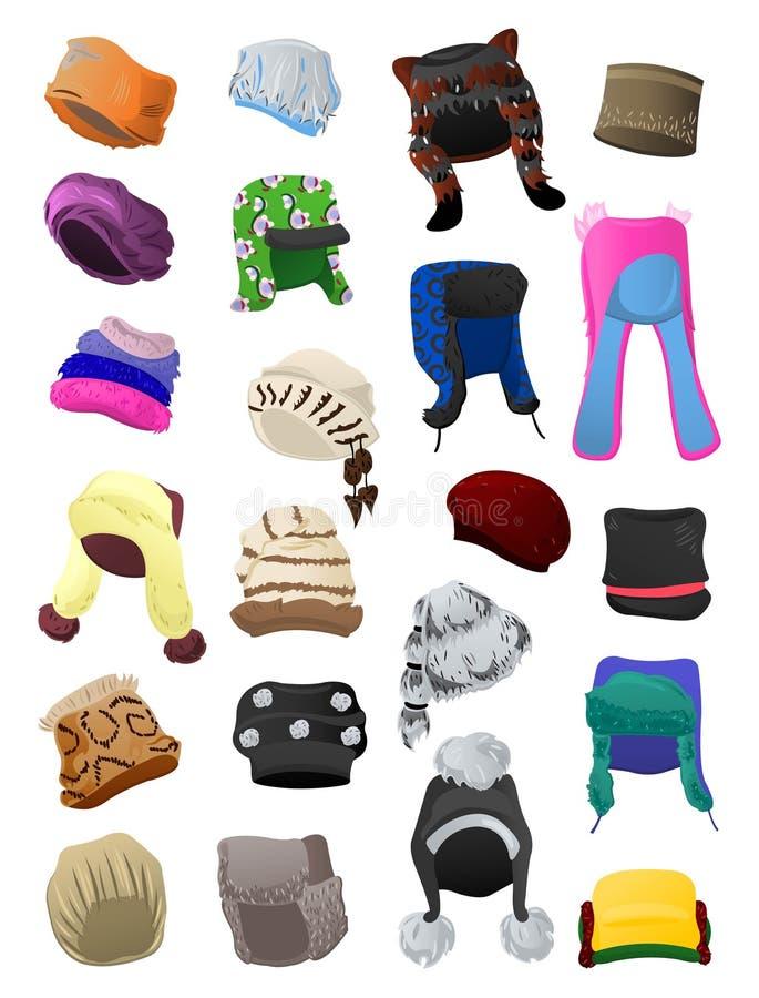 Sombreros de la piel de las mujeres stock de ilustración