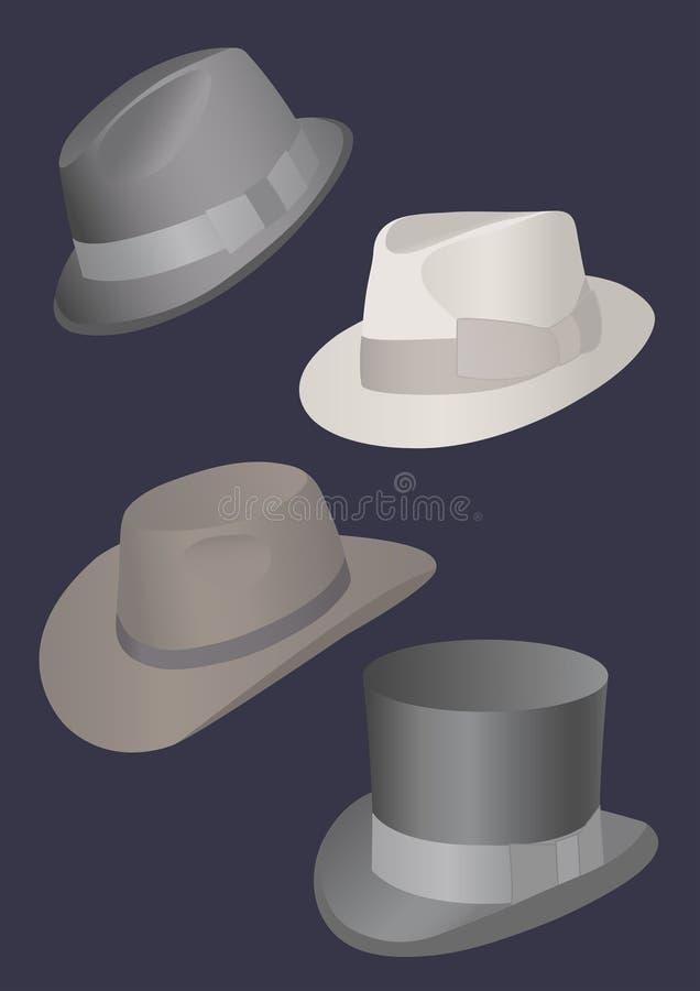 Sombreros de los hombres stock de ilustración
