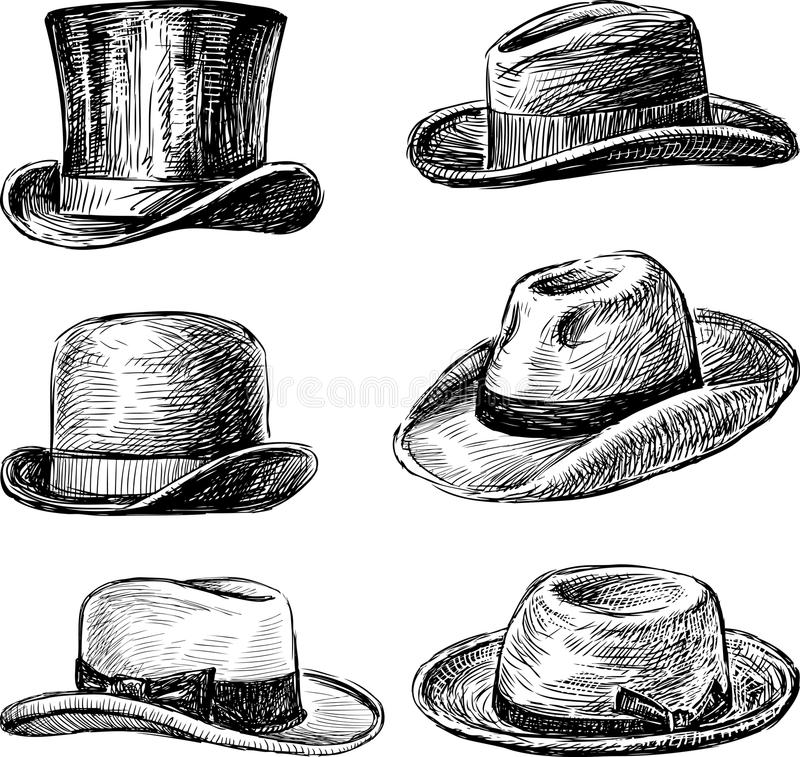 Sombreros de los hombres ilustración del vector