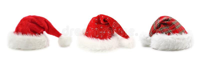 Sombreros de Papá Noel imágenes de archivo libres de regalías
