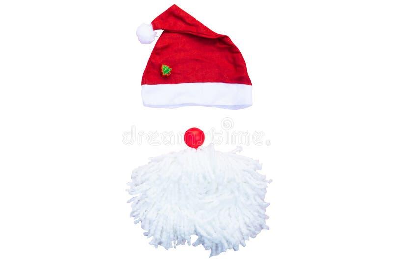 Sombreros de Papá Noel con el bigote rojo del sombrero de Claus fotos de archivo libres de regalías