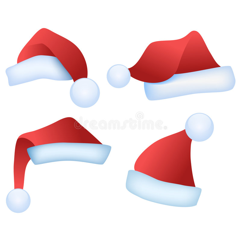 Sombreros de Santa ilustración del vector