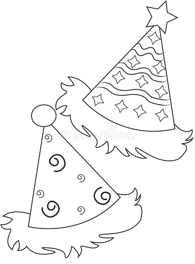 Sombreros del partido que colorean la página stock de ilustración
