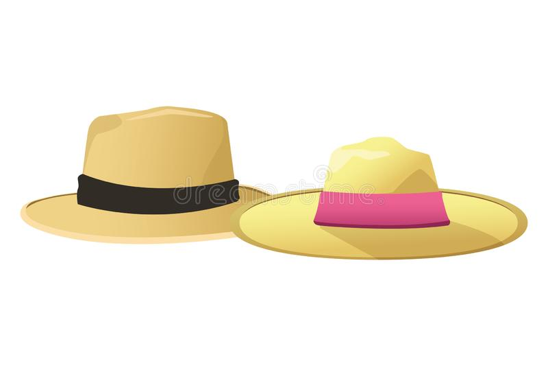 Sombreros del verano para los hombres y las mujeres ilustración del vector