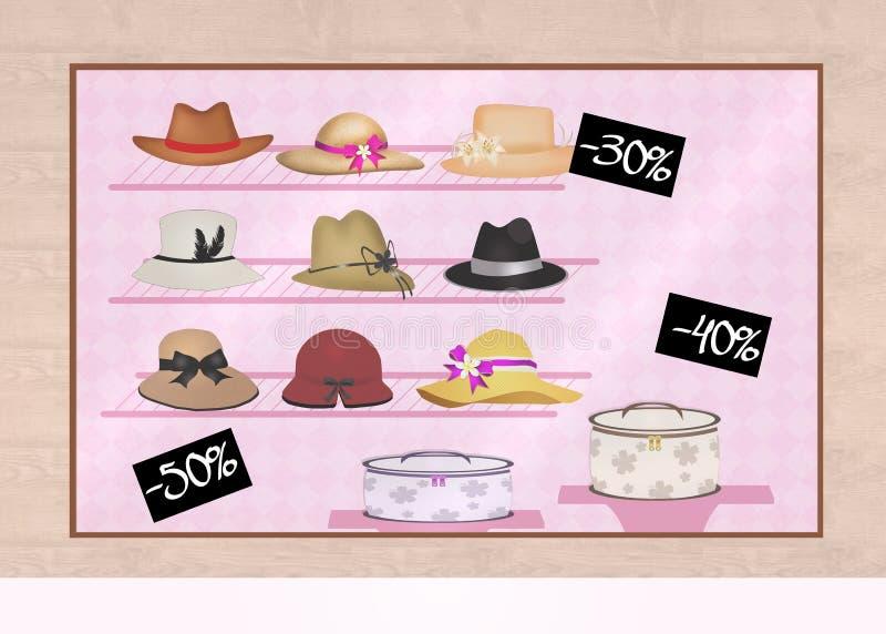 Sombreros en el escaparate libre illustration