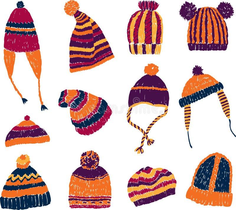 Sombreros hechos punto stock de ilustración