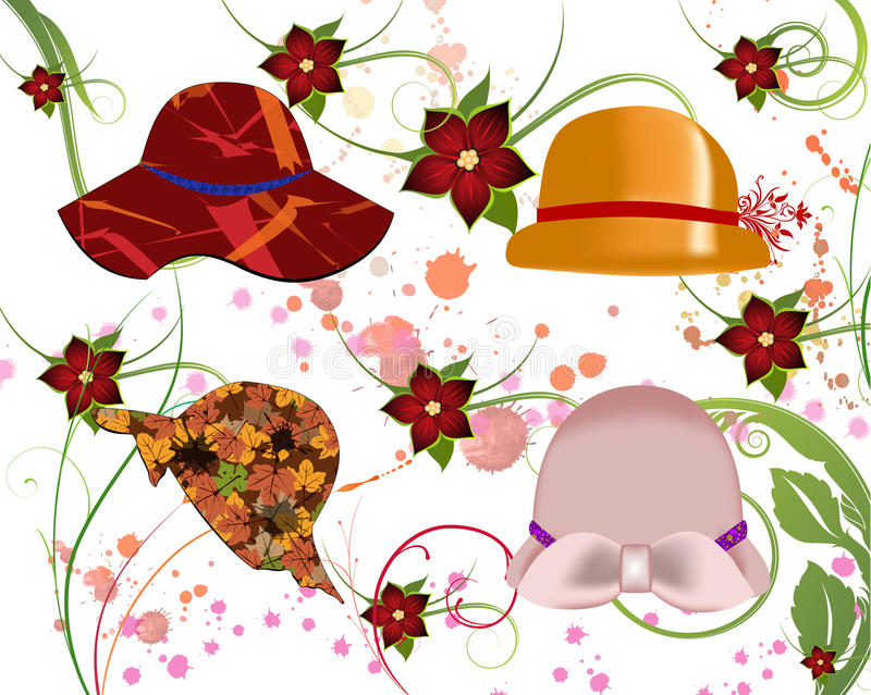 Sombreros para las mujeres ilustración del vector