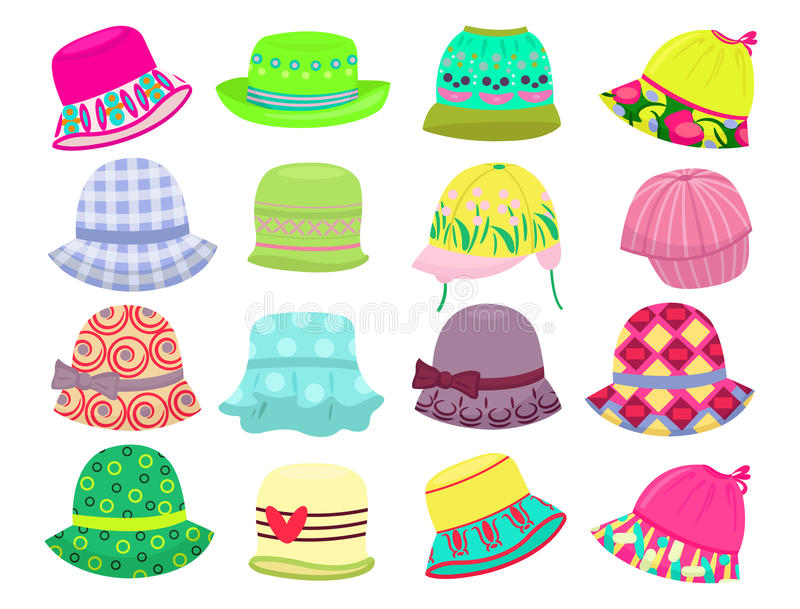 Sombreros para las niñas stock de ilustración