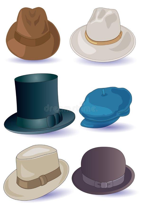 Sombreros para los hombres stock de ilustración