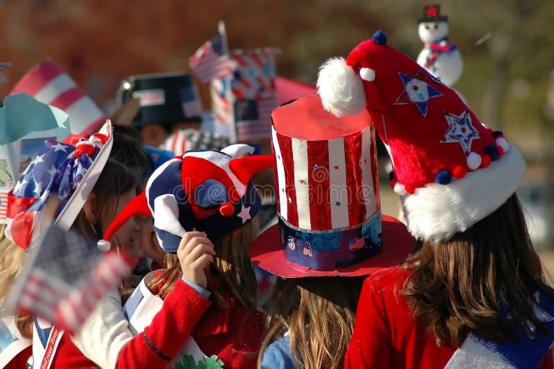 Sombreros rojos, blancos y azules foto de archivo