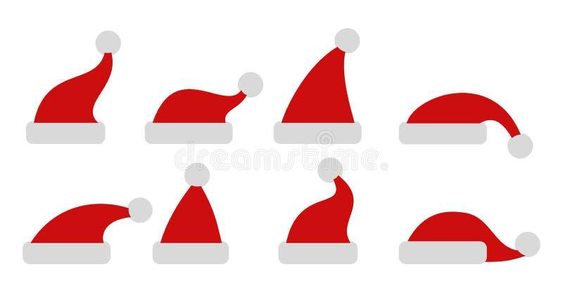 Sombreros rojos fijados de la Navidad - vector ilustración del vector