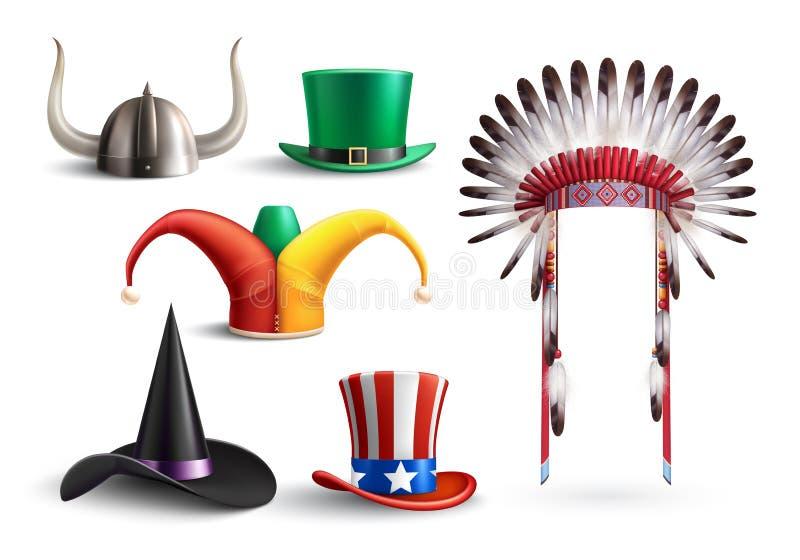 Sombreros tradicionales para la mascarada ilustración del vector
