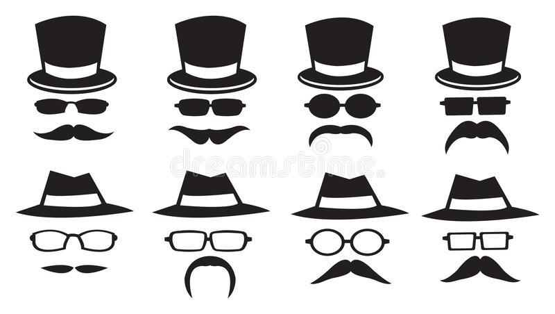 Sombreros y bigotes stock de ilustración