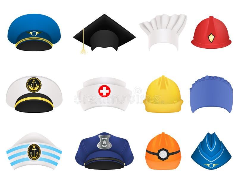 Sombreros y cascos de diversas profesiones Un sistema de doce artículos ilustración del vector