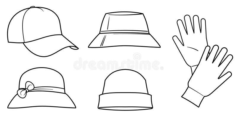 Sombreros y guantes ilustración del vector