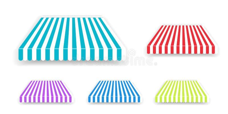 Sombrilla de la tienda para la ventana, tejado rayado coloreado aislado Tiendas realistas del toldo de la tienda fijadas stock de ilustración