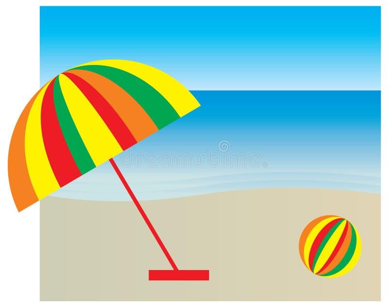 Sombrilla en la playa stock de ilustración