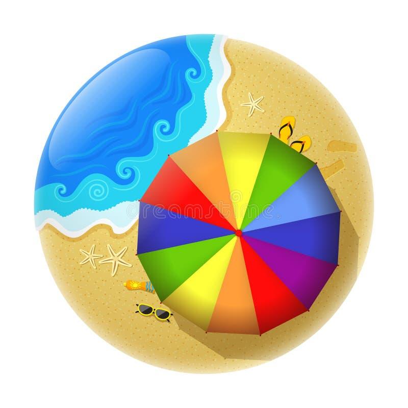 Sombrilla multicolora en la playa stock de ilustración