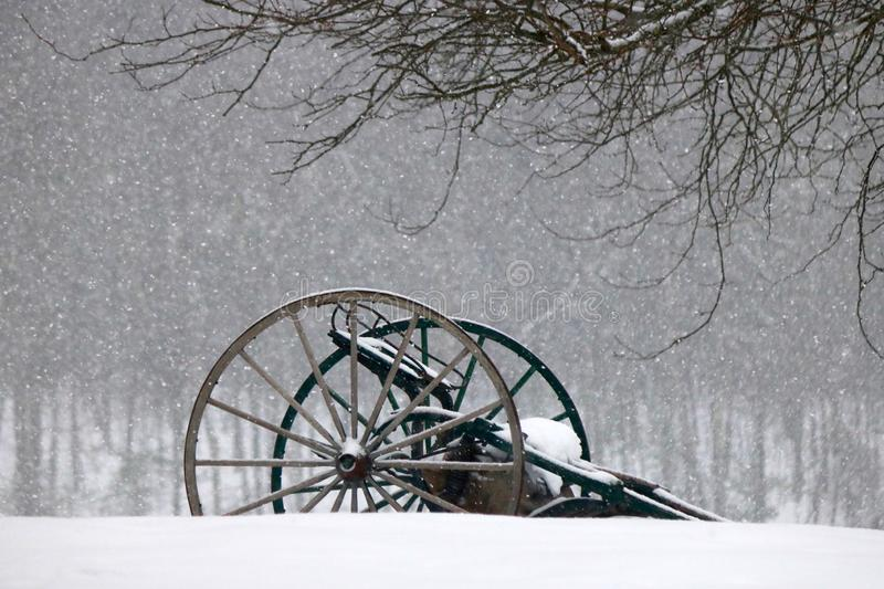 Farm Machinery in the Snow stock photos