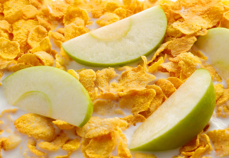 Some Apple Slices With Cereals Royalty Free Stock Photography