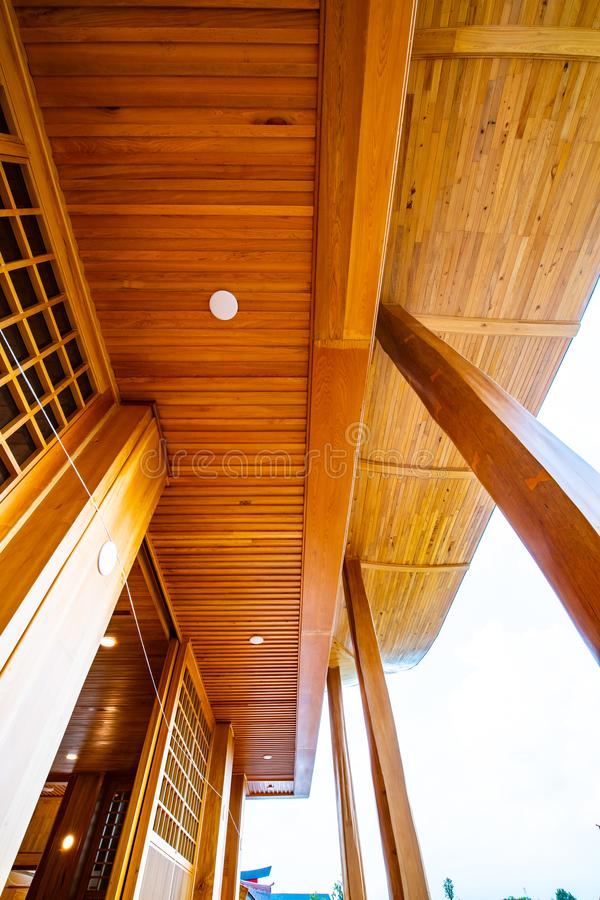 Some area of Japanese style building in Hinoki land. Thailand stock image