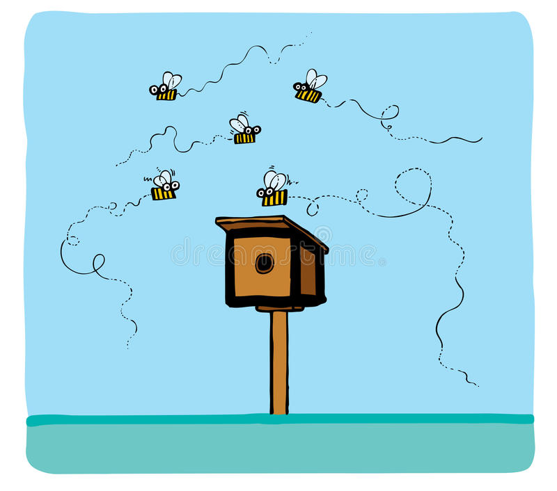 Some bees fly around. Of a beehive on a blue background an illustration royalty free illustration