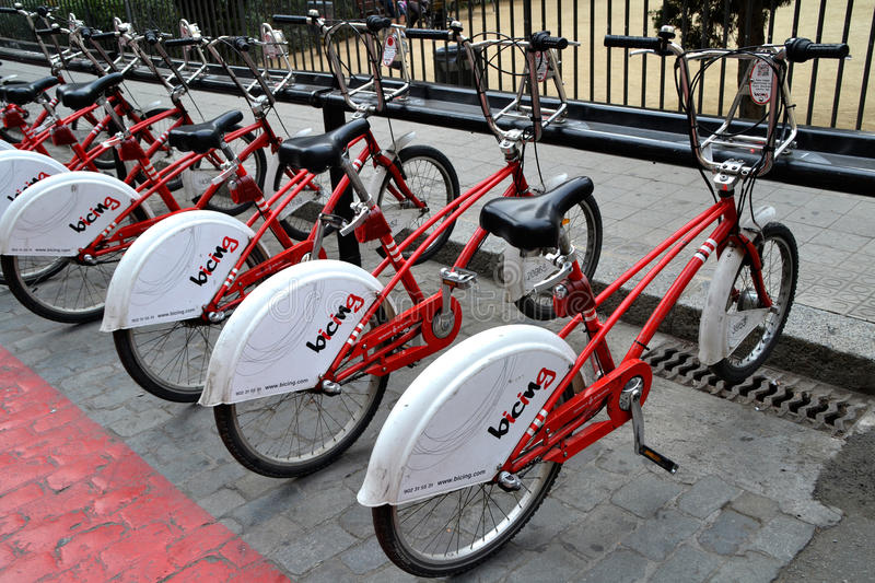 Some bicycles of the bicing service in Barcelona, Spain royalty free stock photo