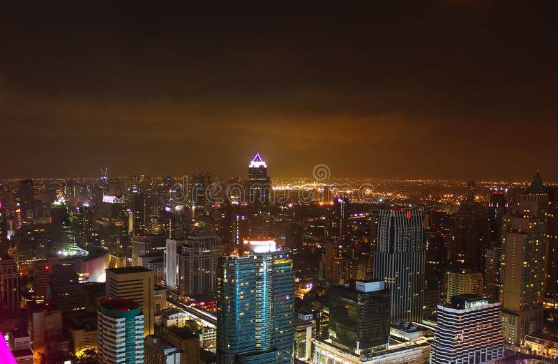 Some buildings and lights of the city of Bangkok at night royalty free stock images